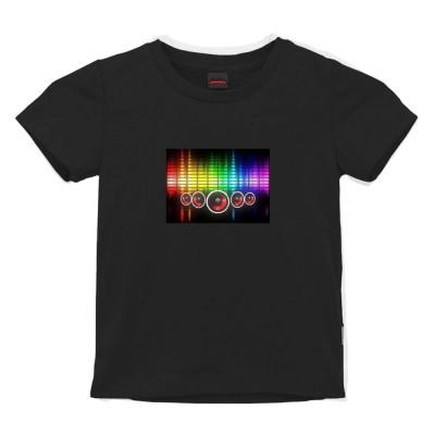 Tricou Party cu Egalizator LED pentru copii - Display luminos, Bumbac, Negru