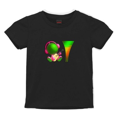 Tricou Alegria cu Egalizator LED pentru copii - Display luminos, Bumbac, Negru